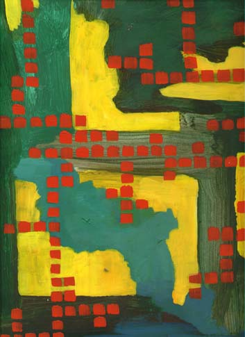 Green and Yellow with Red Squares